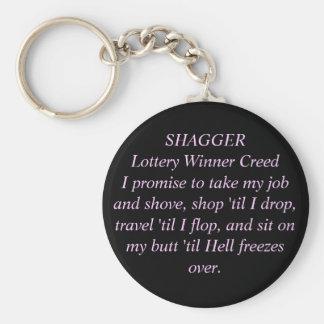 Credo P/B del ganador de lotería de SHAGGER por la Llavero Redondo Tipo Pin
