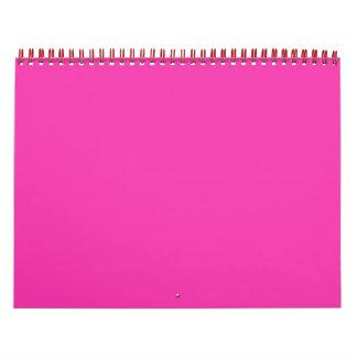 Cree el calendario de pared rosado de neón de la