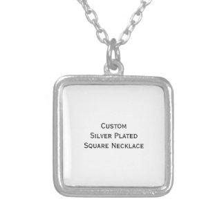 Cree el collar cuadrado plateado plata de encargo