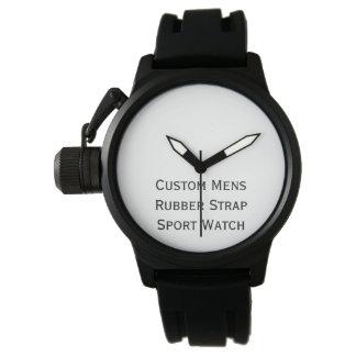 Cree el reloj de goma negro para hombre de encargo