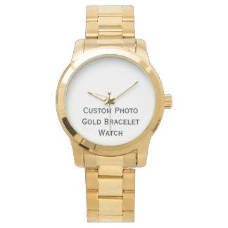 Cree el reloj elegante de la pulsera del oro de la