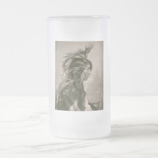 Cree Indian Frosted Glass Beer Mug