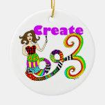 Cree la sirena adorno navideño redondo de cerámica
