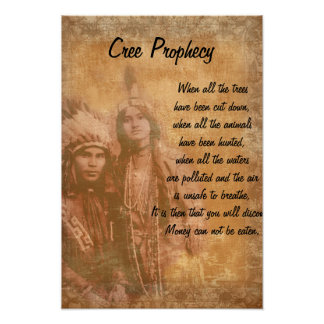 Cree Prophecy Native American Indian couple Poster