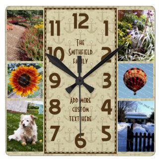 Cree su propia ancla de Brown del collage de la Reloj De Pared