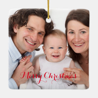 Cree su propia foto de encargo adorno navideño cuadrado de cerámica