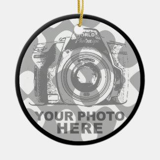Cree su propia foto horizontal del ornamento del adorno redondo de cerámica