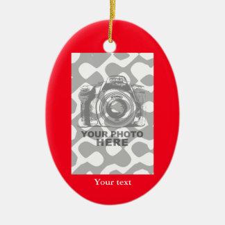 Cree su propia foto vertical roja del ornamento adorno navideño ovalado de cerámica