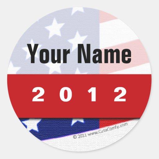 Cree su propia mercancía política patriótica pegatina redonda