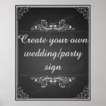 Cree su propia muestra del boda de la pizarra póster