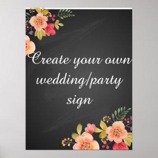 Cree su propia muestra floral del boda de la póster