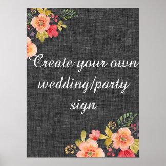 Cree su propia muestra floral del boda del carbón póster