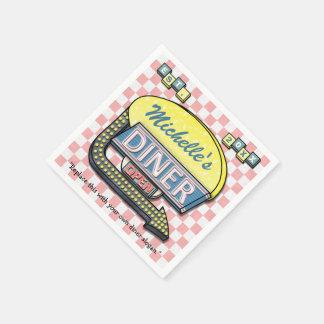 Cree su propia muestra retra de encargo del comens servilletas de papel