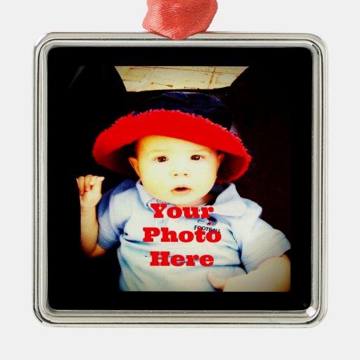 Cree su propia plantilla de los regalos de la foto adorno cuadrado plateado