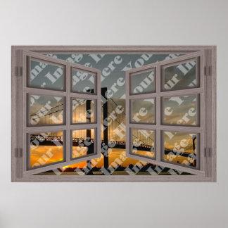 Cree su propia ventana abierta blanqueada 6 crista póster