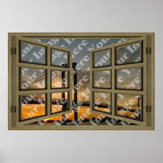 Cree su propia ventana abierta de madera de Brown  Póster