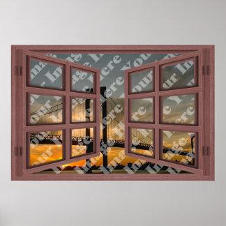 Cree su propia ventana abierta de madera roja de 6 póster