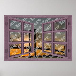 Cree su propia ventana abierta de madera rosada de posters