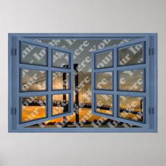 Cree su propia ventana abierta del azul de 6 crist póster