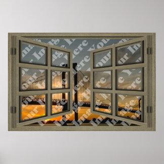 Cree su propia ventana abierta marrón clara de 6 póster