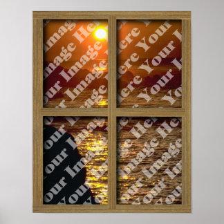 Cree su propia ventana con el marco de madera de B Póster