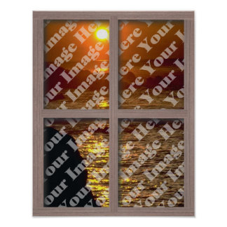 Cree su propia ventana con el marco de madera póster