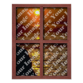 Cree su propia ventana con el marco de madera rojo poster