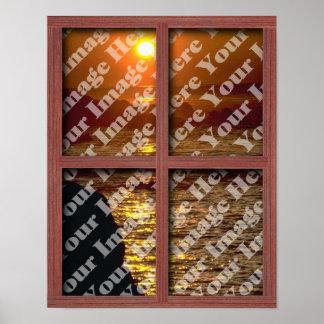 Cree su propia ventana con el marco de madera rojo póster