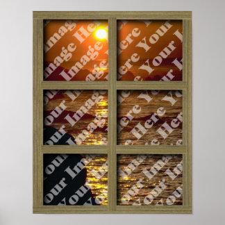 Cree su propia ventana con el marco marrón claro póster