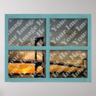Cree su propia ventana de madera verde del marco d póster