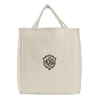 Cree su propio bolso bordado monograma bolsa de lienzo
