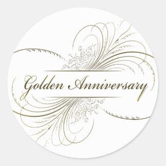 Cree su propio diseño de oro del aniversario pegatina redonda