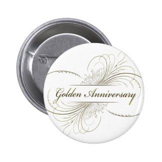 Cree su propio diseño de oro del aniversario pin redondo de 2 pulgadas