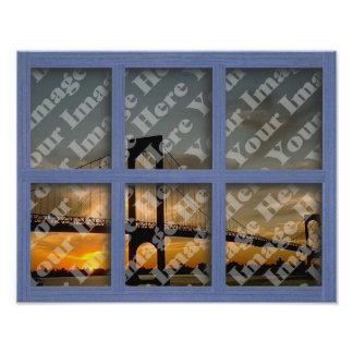 Cree su propio marco de ventana de madera azul de  impresiones