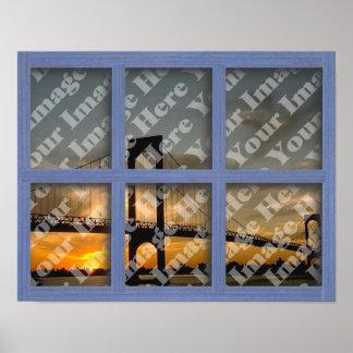 Cree su propio marco de ventana de madera azul de  póster