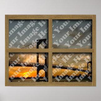 Cree su propio marco de ventana de madera de Brown Póster