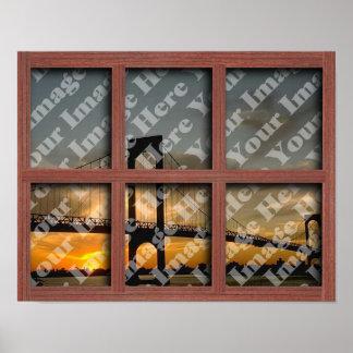 Cree su propio marco de ventana de madera rojo de  posters