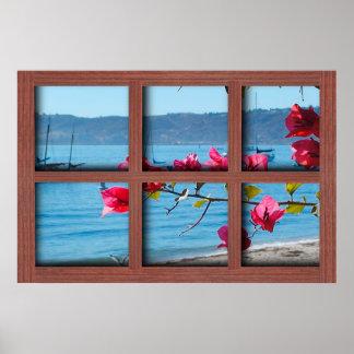 Cree su propio marco de ventana de madera rojo póster