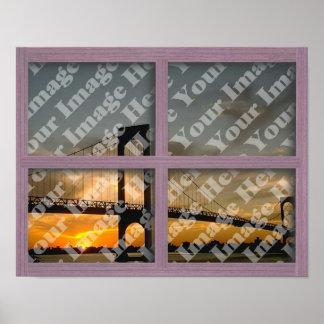 Cree su propio marco de ventana de madera rosado d póster