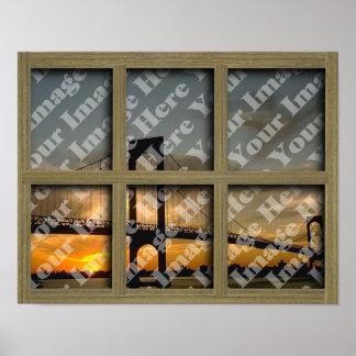 Cree su propio marco de ventana marrón claro de 6  póster