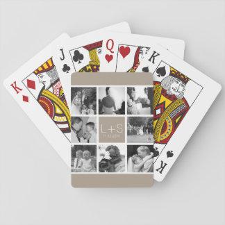 Cree su propio monograma del collage de la foto baraja de cartas