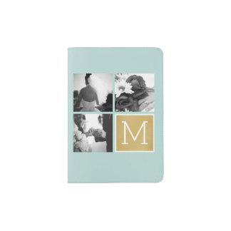 Cree su propio monograma del collage de la foto porta pasaporte