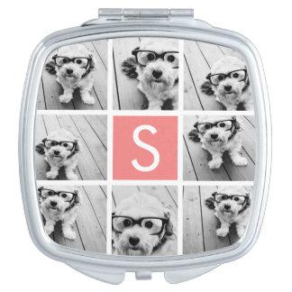 Cree su propio monograma del personalizado del col espejo compacto