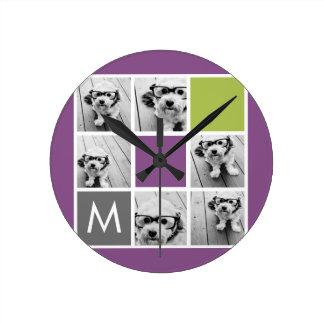 Cree su propio monograma del personalizado del col relojes de pared