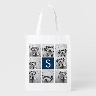 Cree su propio monograma del personalizado del col bolsa reutilizable