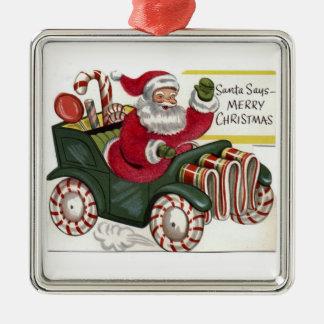 Cree su propio ornamento de encargo del navidad adorno cuadrado plateado
