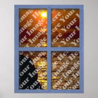 Cree su propio poster de madera azul de la ventana