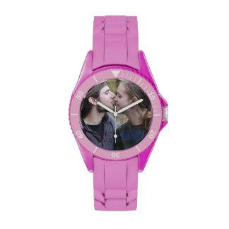 Cree su propio reloj deportivo rosado de encargo