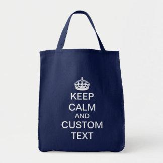 Cree sus los propios guardan calma y continúan bolsa tela para la compra