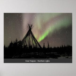 Cree Teepee - Northern Lights Poster